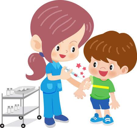 Arts vrouw doet vaccinatie Stock Illustratie