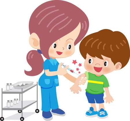 Doctor woman  doing vaccination Illustration