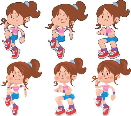 Woman workout fitness, aerobic and exercises. Vector Illustration