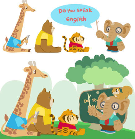 Animals in a classroom Illustration