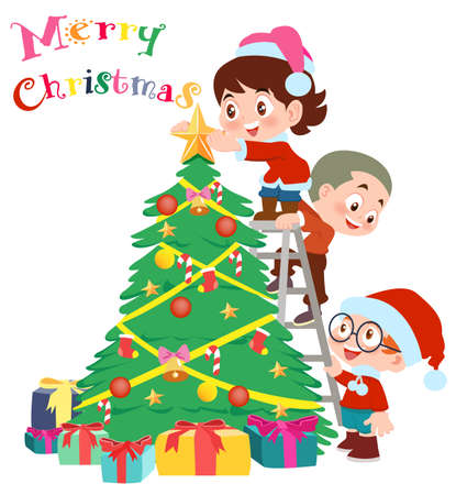 Christmas tree and children vector illustration isolated on white background.