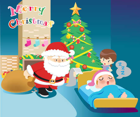 Santa Claus and children vector illustration. Ilustrace