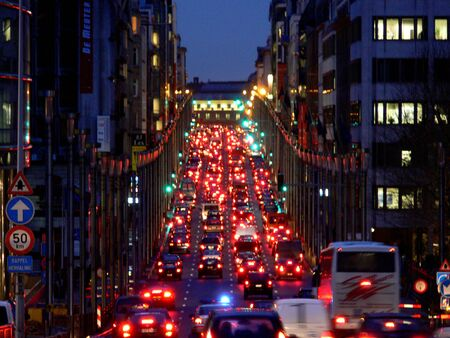 bruxelles: a traffic jam during rush hour in Bruxelles