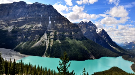 panoramic view of Peyto lake in Canadian Rocky Mountains