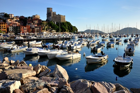 Lerici village in Liguria: seaside, boats, typical houses and castle