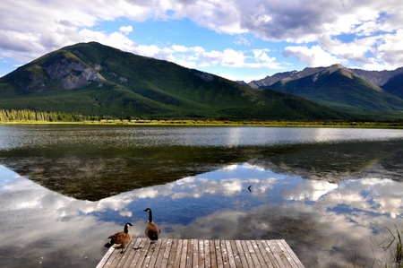 Vermillion Lake reflection with wharf and wild ducks Stock Photo