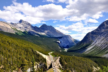 panoramic view of Icefields Parkway between Canadian Rocky Mountains photo