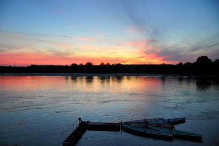 emilia: sunset colours reflected on Po river
