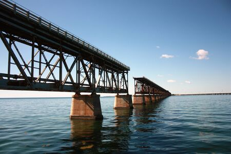 famous old bridge on the ocean from bahia honda to key west in florida with interruption Stock Photo
