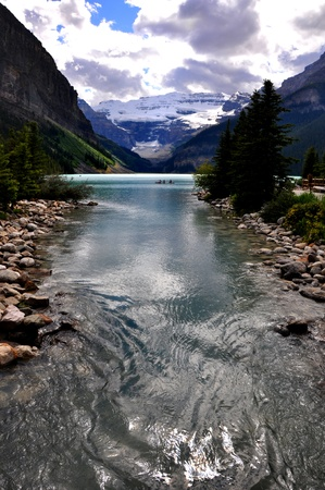 flowing water in Rocky mountains lake Louise