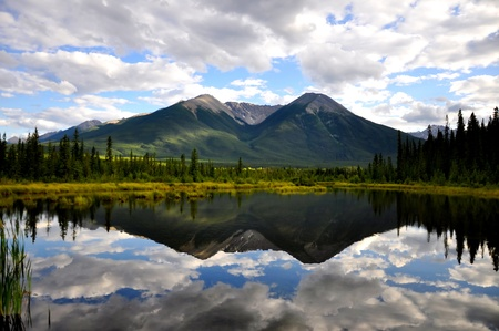 Vermillion Lake reflection Stock Photo