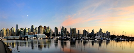 Vancouver skyline at dusk from stanley park photo