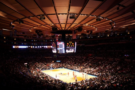 nba: New York City, USA - December 08 2010: panoramic view of NBA match New York Knicks vs Toronto Raptors at Madison Square Garden
