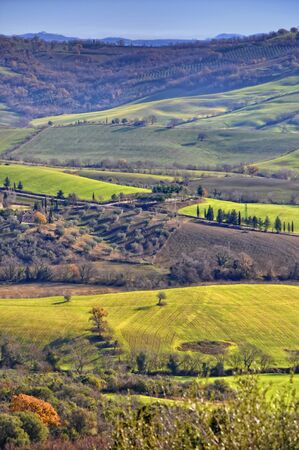 fields and trees in famous Saturnia valley in tuscany