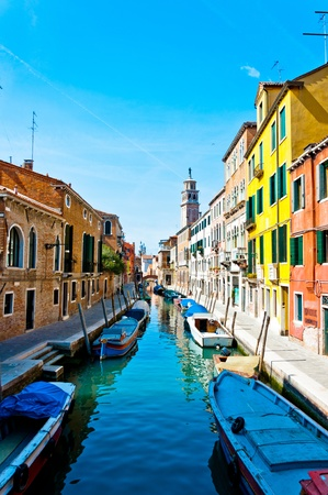 Venice, Italy - canal, boats and houses Stock Photo
