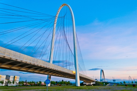 Reggio Emilia, Italy - Calatrava bridges at dusk Stock Photo