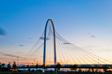 reggio emilia: Reggio Emilia, Italy - Calatrava bridges at dusk Stock Photo