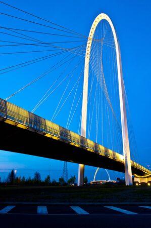 reggio emilia: Reggio Emilia, Italy - Calatrava bridges at dusk Stock Photo