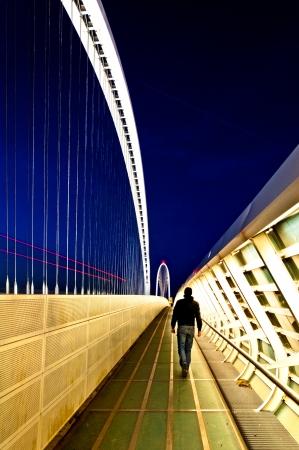 reggio emilia: Reggio Emilia, Italy - Calatrava bridge at night