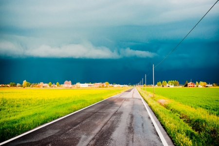 dramatic landscape with arriving storm in Po valley, Emilia Stock Photo - 13854659