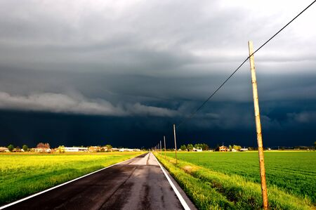 dramatic landscape with arriving storm in Po valley, Emilia Stock Photo - 13854651