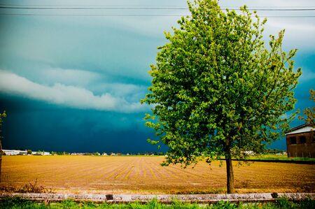 dramatic rural landscape before storm