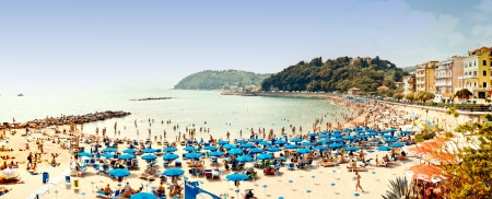JUNE 2012  Tourists rest on Venere Azzurra Beach awarded with the prestigious Blue Flag and enjoy the sea in a hot day on June 03, 2012 in Lerici