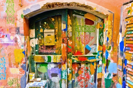 pep: colourful windows and wall in Liguria village Stock Photo