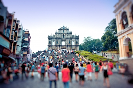 tourists visit the Cathedral of Saint Paul   Sao Paulo Church  in Macao