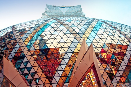 Macau, China - August 1, 2012 : street view of Grand Lisboa Casino building exterior in Macau Editorial