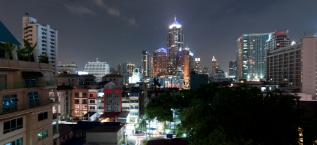BANGKOK, THAILAND - AUGUST 03: A view on the night city in Sukhumvit zone in Bangkok - Thailand Stock Photo - 15849836
