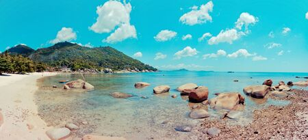 panoramic day view of Crystal Bay tropical beach in Koh Samui, Thailand