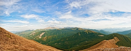 apennines: panoramic view of Appennino Reggiano in the north of Italy, with the famous Cusna mountain in the middle