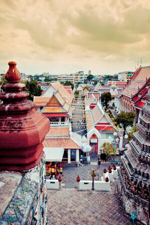 View of downtown and temple in Bangkok, taken from the top of Wat Arun Stock Photo - 17204654