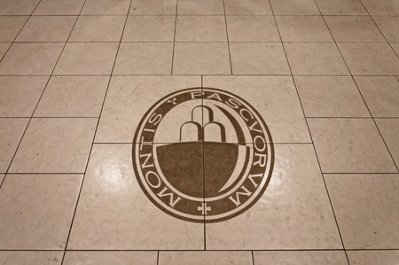 scandal: PIOMBINO, ITALY - MARCH 04: floor of Monte dei Paschi di Siena bank branch with logo on March 04, 2013 in Piombino. MPS is one of the main banks in Italy and is involved in big scandal Editorial