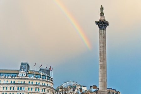 rainbow over Trafalgar Square in London photo