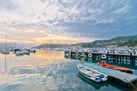 harbour and town of Lerici, Itay, at sunset in summer