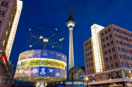 Berlin, Germany - June 7, 2013  Alexanderplatz, Tv tower and world clock night view on June 07, 2013 in Berlin  Called by Berliners simply Alex it is a large public square in Mitte district in Berlin