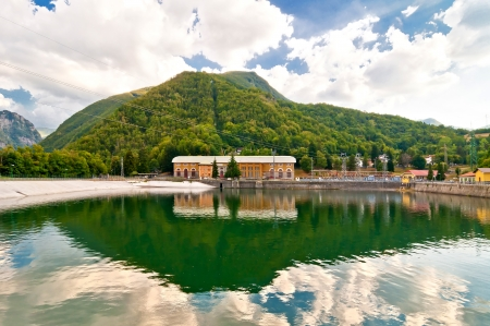 apennines: landscape with hydro-electric power plant and lake in Ligonchio, Emilia Apennines, Italy