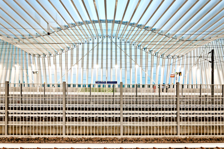 reggio emilia: REGGIO EMILIA, ITALY - JUNE 12, 2013  high speed train and passengers in new Mediopadana Station in Reggio Emilia, Italy  It is designed by Santiago Calatrava and composed of 457 steel frames