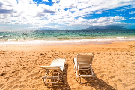 empty deckchairs on Makena Beach, famous tourist destination in Maui, Hawaii