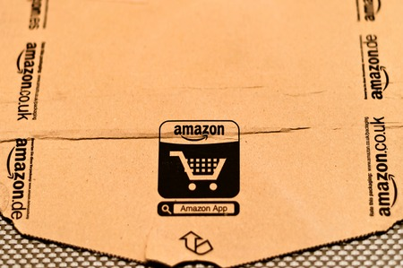 detail of delivered Amazon parcel in Milan, Italy  Amazon com is the world s largest online retailer  Editorial