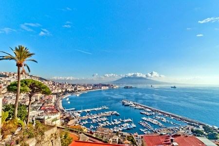 view of Naples from Posillipo hill with Mediterranean sea and Vesuvius mount