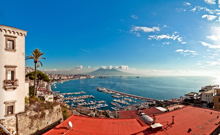 view of Naples from Posillipo hill with Mediterranean sea and Vesuvius mount photo