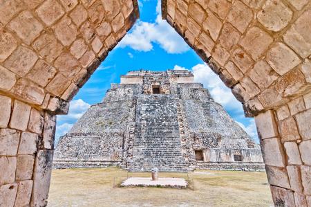 mesoamerica: ancient mayan pyramid in uxmal, yucatan, mexico