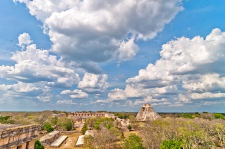 pre columbian: Uxmal ancient mayan city, Yucatan, Mexico