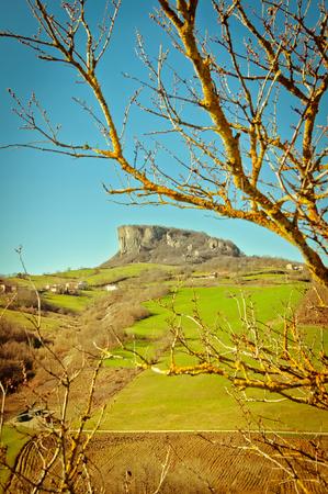 emilia: view of famous Pietra di Bismantova in Reggio Emilia Apennines - Italy