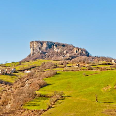 view of famous Pietra di Bismantova in Reggio Emilia Apennines - Italy