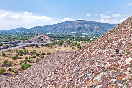 pre columbian: View of the Avenue of the Dead and the Pyramid of the Moon, from the Pyramid of the Sun in Teotihuacan, Mexico