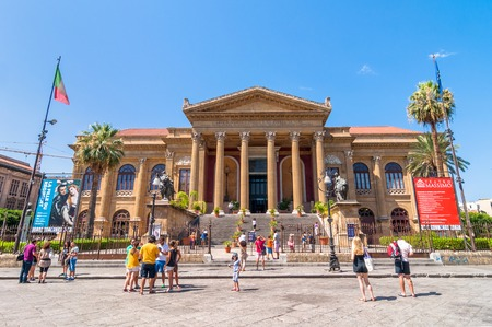 massimo: PALERMO, ITALY - AUGUST 16, 2014: tourists in front of famous opera house Teatro Massimo in Palermo, Sicily, Italy. It is the biggest in Italy, and one of the largest of Europe, renowned for its perfect acoustics. Editorial